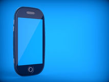Abstract touchscreen cellphone. On blue background. 3d illustration Royalty Free Stock Image