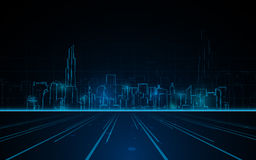 Abstract tower cityscape blue light line design tech sci fi concept background Stock Photos