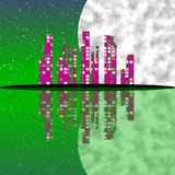 Abstract town with moon Royalty Free Stock Photography