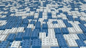 Abstract toy blocks in blue and white stock footage
