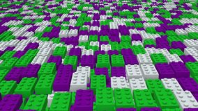Abstract toy blocks in green,purple and white stock video