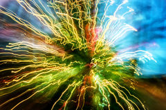 Abstract traces of light blurred movements and contrast colors Stock Image
