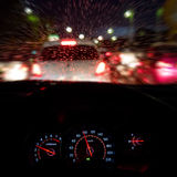 Abstract traffic accident  in raining day. View from car seat. Royalty Free Stock Photography