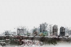 Abstract Building in the city on watercolor painting background. Abstract traffic conditions on expressway in the capital and there are many buildings in the royalty free illustration