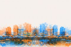 Abstract Building in the city on watercolor painting background. Abstract traffic conditions on expressway in the capital and there are many buildings in the stock illustration