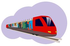 An abstract train that carries clothes hanging on hangers. A red high-speed train in the style of a flat carries clothes for fashion Stock Image