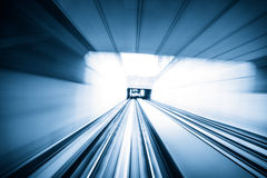 Abstract train moving in tunnel Royalty Free Stock Image