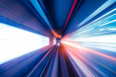 Abstract train moving in tunnel Royalty Free Stock Images