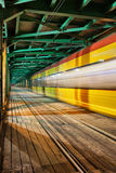 Abstract Tram Light Trail on a Bridge Stock Photography
