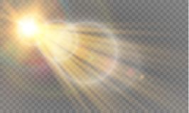 Abstract transparant speciaal het lichteffectontwerp van de lens gouden voor zonnegloed Stock Afbeeldingen