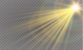 Abstract transparant speciaal het lichteffectontwerp van de lens gouden voor zonnegloed Stock Illustratie