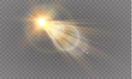 Abstract transparant speciaal het lichteffectontwerp van de lens gouden voor zonnegloed Stock Afbeelding