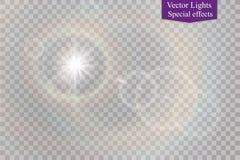 Abstract transparant speciaal het lichteffectontwerp van de lens gouden voor zonnegloed Royalty-vrije Stock Afbeeldingen