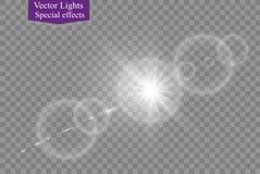 Abstract transparant speciaal het lichteffectontwerp van de lens gouden voor zonnegloed Stock Foto's