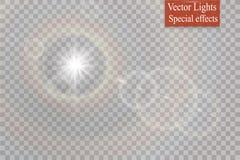 Abstract transparant speciaal het lichteffectontwerp van de lens gouden voor zonnegloed Royalty-vrije Stock Foto