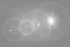 Abstract transparant speciaal het lichteffectontwerp van de lens gouden voor zonnegloed Royalty-vrije Stock Fotografie