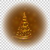 Abstract transparent gold background with christmas tree and stars. Bright illustration in gold colors. Illustration. Abstract transparent background with gold stock illustration