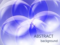 Abstract transparent balls on a blue background. In the shape of a flower Royalty Free Stock Photo