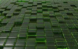 Abstract transparent Green Cubes. 3d illustration. Abstract transparent Green Cubes. illustration Stock Images
