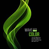 Abstract  transparent green waves on black Stock Image