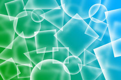 Abstract transparent shapes background. Transparent  circles, squares and triangles shapes abstact background Royalty Free Stock Photography