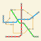 Abstract Transportation Metro or Subway Map. 3d Rendering. Abstract Transportation Metro or Subway Map on a yellow background. 3d Rendering Stock Photos