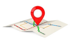 Abstract Transportation Metro or Subway Map with Red Target Pin. Stock Photo