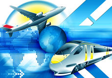 Abstract travel backround. Blue travel background with train and plane Stock Photography