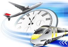 Abstract travel backround. Blue travel background with train and plane Royalty Free Stock Image