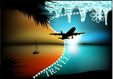 Abstract travel concept. Aircraft from summer to winter Stock Photos