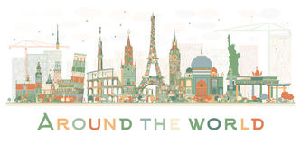 Abstract Travel Concept Around the World with Famous International Landmarks. Vector Illustration. Business and Tourism Concept. Image for Presentation vector illustration