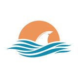 Abstract travel logo with ocean and shark fin. Stock Images