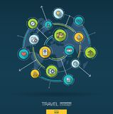 Abstract travel and tourism background. Digital connect system with integrated circles, color flat icons. Vector stock illustration
