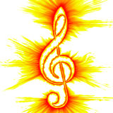 Abstract Treble Clef. Abstract fiery outlined treble clef Stock Photo