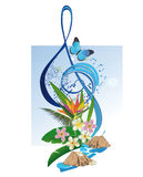 Abstract treble clef with a butterfly. Stock Images