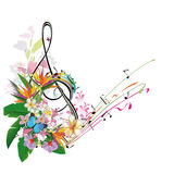 Abstract treble clef decorated with leaves and flowers. stock illustration