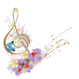 Abstract treble clef with tropical leaves and flowers. royalty free illustration