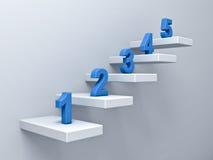 Abstract treden of stappenconcept op witte muurachtergrond met blauw aantal van één tot vijf Stock Afbeeldingen