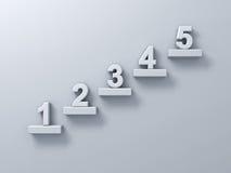 Abstract treden of stappenconcept op witte muurachtergrond met nummer één tot vijf Royalty-vrije Stock Afbeeldingen