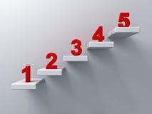 Abstract treden of stappenconcept op witte muurachtergrond met rood aantal van één tot vijf vector illustratie