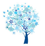 Abstract tree. Vector abstract tree with snowflakes and flowers Royalty Free Stock Image