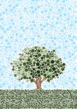 Abstract Tree. A tree set in a lower third landscape with blue sky. Constructed from 1000s of dots Royalty Free Stock Image
