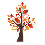 Abstract tree with autumn leafs on white background Stock Images
