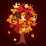 Abstract tree with autumn leaves Stock Image