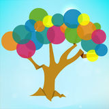 Abstract tree background with circle flat colors Stock Images