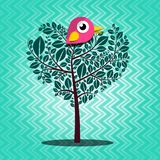 Tree with Bird Vector on Retro Background. Abstract Tree with Bird Vector on Vintage Background Stock Photo