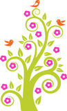 Abstract tree with birds. Vector illustration Stock Images