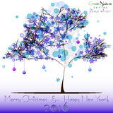 Abstract tree in blue snowflakes as foliage at winter. Abstract tree in blue snowflakes as foliage and with christmas balls at winter. Card for greetings with stock illustration