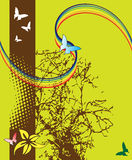 Abstract tree and butterflies. Abstract colored illustration with tree shape, butterflies, and twisted rainbow Stock Photo