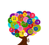 Abstract tree with buttons. Vector illustration of an abstract tree with buttons isolated on white background Royalty Free Stock Photography